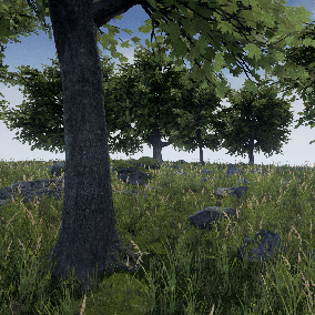 A collection of five trees and ten rocks made with photogrammetry. The rocks and trees can use vertex colors to remove or add detail textures, as well as add grass on top or give the appearance of being wet.