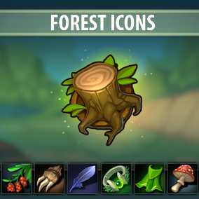Set of 114 hand drawn Forest Icons.