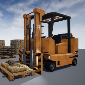 A detailed, interactive forklift model with a collection of industrial props.