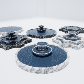 An amazing collection of Fountains ready to be used inside your game, interior, or VR project, 4 Meshes with LOD's, custom colors.