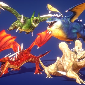 Dragons for any fantasy theme games with lightweight lowpoly and Handpainted textures