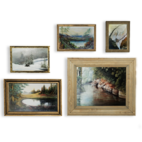 Framed Oil Painting Pack Vol.1 - is a low poly asset pack of original hand painted landscape pictures framed in wooden or vintage metal frames