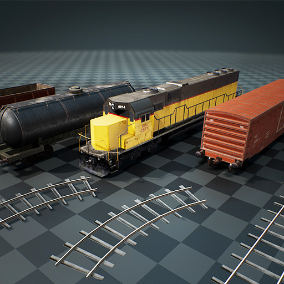 This package contains high quality freight train models, complete with PBR textures.