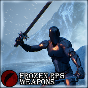 This is a pack of eight weapons imbued with the power of ice. The weapons are as follows, bow and arrow, ninjato, sai, claw gauntlet, scythe, sword, cleaver, and spiked shield. Each weapon has a blueprint with mist effects.