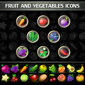 Set of 100 hand drawn Fruit and Vegetables Icons.