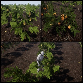 Plants and fruits with physics able to interact with your character.