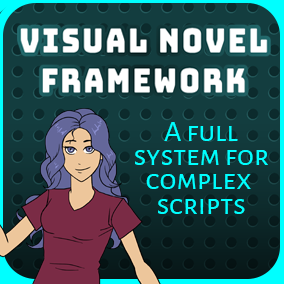 This framework provides a full visual novel system with choices, conditional branching, a layered character system, and much more.