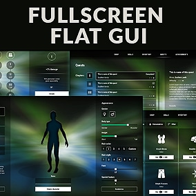Fullscreen Flat GUI / UI Kit - transparent, 816 png, 4k i full hd screens, editable sources