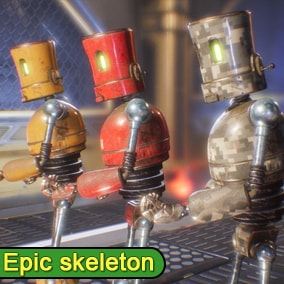 PBR Funny Robot 3 rigged to the Epic skeleton