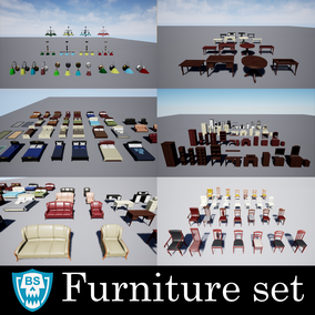 Large set of furniture. In a suite of beds, sofas, cabinets, chairs, tables, lamps, and much more.