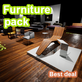 Use the Furniture pack in your project and save time and effort, Almost All furniture and props are highly optimized and detailed and can be reused in any project.