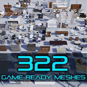A furniture and fixture pack that includes 322 DIFFERENT meshes and more than 140 materials, game-ready, VR-ready