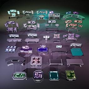 Control Room Props. 51 modular components. 4k Textures. Customizable materials.