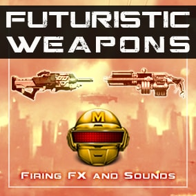 312 High quality Stereo Sound effects in Futuristic, or Steampunk style. Also, pack includes Firing Particles and Bullet Trail Effects.