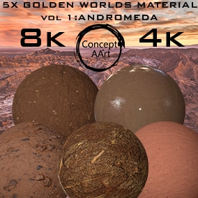 5 Super Golden Worlds  Materials for all platforms. All Textures have their own 8K,4K,2K and 1K version and ready for every kind of project.