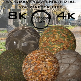 5 Super Realistic Graveyard Materials for all platforms. All Textures have their own 8K,4K,2K and 1K version and ready for every kind of project.