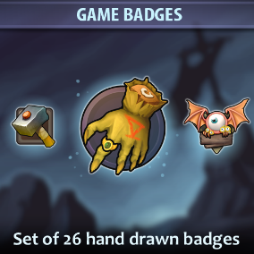 A set of 26 hand drawn Game Badges.