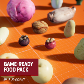 36 Game-Ready realistic photo scanned food meshes.