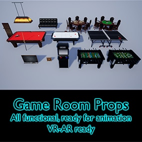 Game Room props. Contains a set of game ready assets, PBR textured, great for AR-VR projects