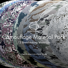A pack of 12 Base Camouflage Materials built specifically for Unreal the pros at GameTextures.  These beautiful materials are optimized for use within Unreal Engine 4, and will be extremely useful for the incredibly versatile material editor.