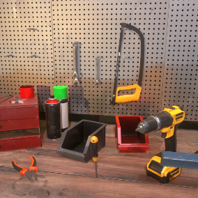 Garage Tools and props done in realistic PBR style