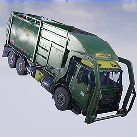 Rigged + Animated Garbage Truck ( 3 colors )