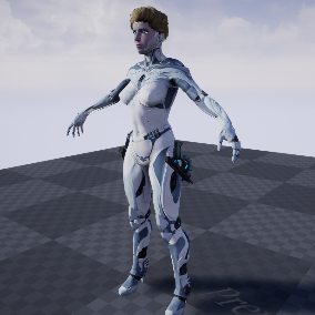 Girl android, ghost low polygonal