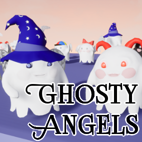 Low Poly Character Pack of Ghosty Angels game ready: rigged, animated, with morph target