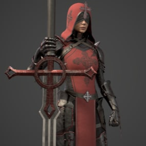 Girl Knight, Low poly, Rigged to Epic skeleton