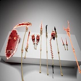 Glittering handmade weapons