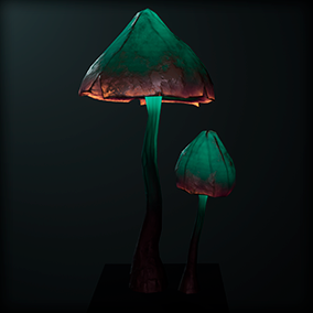 Magic glowing mushrooms