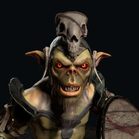 Low-poly game ready model of the character Goblin 1