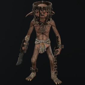 Low-poly model character Goblin Fugitive; Ready to game