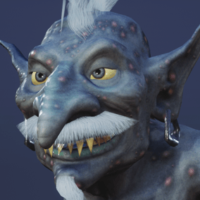 Low polygonal game ready animated model of goblin.