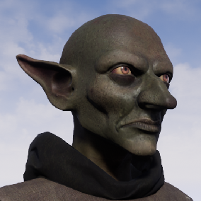 Goblin character with wooden bat