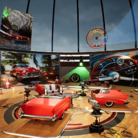 Gold Cars modular TV studio comes with 40 game-ready models. Including cameras, microphones, posters, seats, spot lights, car seats, tires, signs and others.