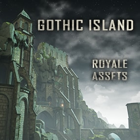 Large environment with 340 meshes, cathedral, caves, buildings, rocks. Stylized Gothic architecture.
