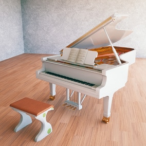 Highly detailed grand piano complete with a piano bench. Demo scene included.