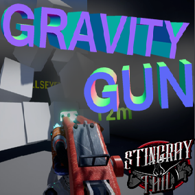 3D modeled, game ready gravity gun with Blueprint.