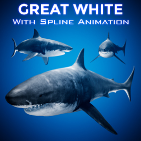 This Shark comes with a procedural spline animation system, and opens its mouth when it nears the player!