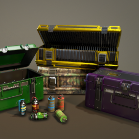 Realistic PBR Chests and grenades in modern and Sci Fi style