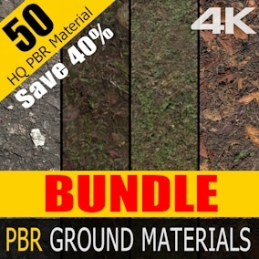 50 high-quality PBR Ground Materials for games or any other projects.