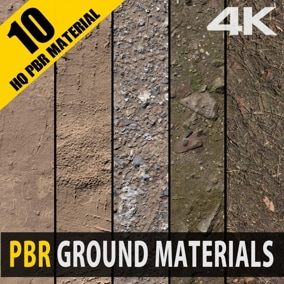 10 high-quality PBR Ground Materials for games or any other projects.