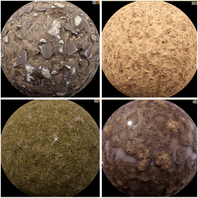 """Ground"" - Pack of 13 PBR Materials (ground, grass, stones, and mud)"