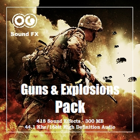 This SFX pack contains an impressive 418 tracks totaling more than 300 Mb of Guns and Explosions sounds.  All files are stereo 16-bit 44.1 kHz WAV format.