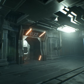 A set of Sci-Fi styled prefabs and model pieces like walls, floors, ceilings, pipes, etc.