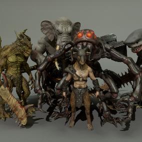 This pack gathers 5 heroic fantasy were creatures: weredragon, werelephant, weregoat, wereshark and werespider.