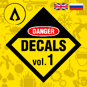 600 High Quality Danger Signs Decals in English and Russian