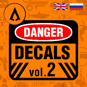 400 High Quality Danger Sign Decals in English and Russian