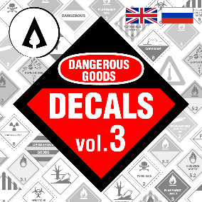120 High Quality Dangerous Goods Decals in English and Russian